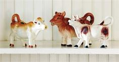 Creamware Ceramic Cow Creamers: Set of 3