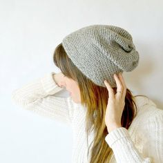 This slightly slouchy beanie may look woven, but it's made with a really easy crochet stitch! Free pattern here.