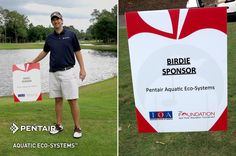 """We were happy to support local public schools with our sponsorship and participation in The Foundation for Seminole County Public Schools - 21st annual Golf """"FORE"""" Education Tournament. Brian Fettig, Senior Counsel for Pentair Aquatic Eco-Systems and Chairman of the Board for The Foundation stands proudly with our sponsorship sign."""