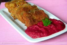 Panírozott sertésnyelv narancsos céklaszósszal Meatloaf, Steak, Food, Essen, Steaks, Meals, Yemek, Eten