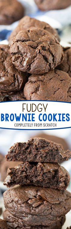 Fudgy Brownie Cookies - this easy fudgy cookie recipe is completely from scratch! It's like eating a hand held brownie - if you love chocolate THESE are the cookies for YOU! (Chocolate Cupcakes From Scratch) Easy Cookie Recipes, Cookie Desserts, Brownie Recipes, Easy Desserts, Baking Recipes, Sweet Recipes, Delicious Desserts, Dessert Recipes, Yummy Food