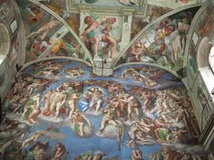 In addition to the ceiling, Michelangelo's other great work is The Last Judgment, on the altar wall. This powerful work centers on Christ the Judge, who compels the damned to the underworld with his left hand and lifts up the saved to heaven with his right. Surrounding Christ are the planets, the sun and saints.