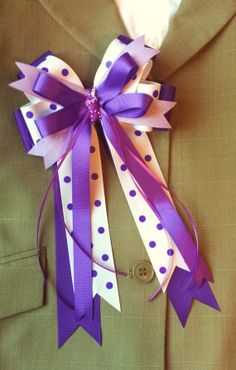 Pair of Medium Horse Show Bows w/ Tails by ShortStirrupBling, $23.00