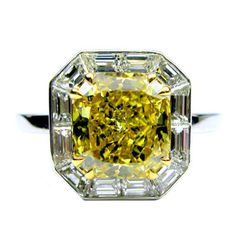 Fancy Deep Yellow Cushion Diamond Ring - 3 carats  #jbirnbach #jewelry #nyc #diamonds #engagement #wedding #bridal