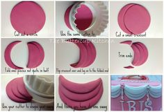 STEP BY STEP tutorial - easy quick layered swags fondant Fondant Tips, Fondant Icing, Fondant Toppers, Fondant Tutorial, Fondant Cakes, Cupcake Cakes, Fondant Ruffles, Fondant Recipes, Ruffle Cake