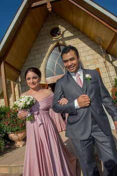 Matching Dust Me Pink Goddess By Nature Signature Ballgown with Mens Tie for Emma's gorgeous bridal party couple.