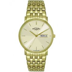 This smart Men's Rotary Gold Plated Bracelet Watch uses Rotary's Swiss Quartz Movement and has a day and date display. Gents Watches, Watches For Men, Samuels Jewelers, Rotary Watches, Mens Designer Watches, Gents Fashion, Gold Plated Bracelets, Beautiful Watches, Fashion Watches