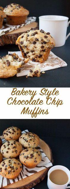 Homemade Chocolate Chip Muffins, Chocolate Recipes, Baking Chocolate, Chocolate Cupcakes, Moist Chocolate Chip Cookies, Chocolate Chip Bread, Homemade Muffins, Chocolate Snacks, Healthy Chocolate