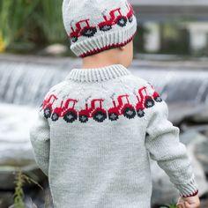 GG19-24 Traktor genser & lue lys grå | Gjestal Knitted Hats, Beanie, Knitting, Books, Fashion, Threading, Livros, Moda, Tricot
