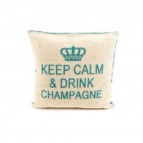 """Coussin beige/bleu turquoise """"Keep calm & drink champagne"""" Keep Calm And Drink, Bleu Turquoise, Champagne, Lettering, Drinks, News, Products, Drinking, Beverages"""