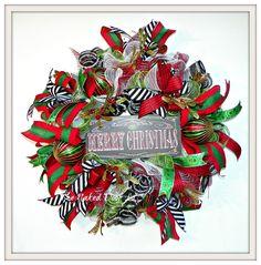Christmas Wreath - Merry Christmas Wreath - Holiday Wreath - Christmas Front Door Wreath - Christmas Gift - Gift for Her - Deco Mesh Wreath by TheNakedDoorLLC on Etsy