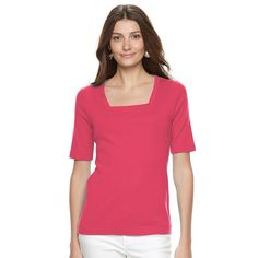 Women's Croft & Barrow® Squareneck Tee, Size: Medium, Brt Red