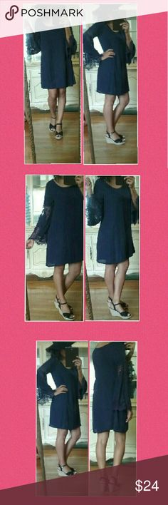 NEW CHARLOTTE RUSSE NAVY BLUE DRESS SMALL Beautiful Navy Blue dress with lace bell sleeves. Lined. So flowy and chic. Truly one of favorites! Size Small. I'm a medium and this dress fits me perfectly because of it's flowy nature.   🌻TOP Rated Ebay seller. Check out my feedback! Charlotte Russe Dresses Mini