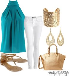 """""""Summer Outfit"""" by beautylifenstyle on Polyvore  -- ANYTHING WITH WHITE PANTS LOOOOOVE!!!!!"""