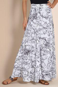 Summer Breeze Skirt - Long Skirt, Back Elastic Waistband, Side Zipper | Soft Surroundings