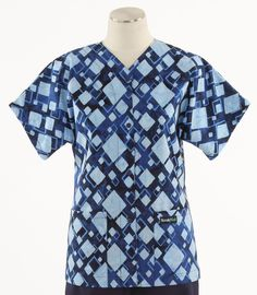Scrub Med Womens Baseball Top in Geo - $33