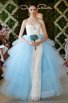 d283a2525310 Oscar de la Renta Bridal 2013 ~ White sequin birdsnest knit sweetheart  column gown with blue tulle tiered overskirt.