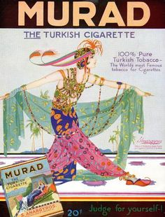 1919 Murad Turkish Cigarettes - Also targeted to women In the early 1900s, manufactures of Turkish cigarettes tripled their sales and became legitimate competitors to Lucky Strike, Camel and Chesterfield.