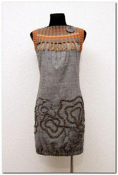 Sukienka Tweed Melanż Szara - Karczek Pomarańcz w agaartpl  na DaWanda.com