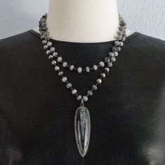 Orthoceras Fossil pendant with Pave Diamonds on a Wire Wrapped Rutilated Quartz  and Silver Pyrite Chain Necklace by OliverRafCollection on Etsy https://www.etsy.com/listing/258021402/orthoceras-fossil-pendant-with-pave