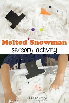 Fun and Simple Melted Snowman Sensory Activity - Preschool Inspirations - - Make an indoor snowman with this snowman activity great as a preschool winter activity or for sensory play. Preschool Christmas, Christmas Activities, Preschool Crafts, Crafts For Kids, Preschool Winter, Preschool Kindergarten, Christmas Ideas, Christmas Crafts, Sensory Activities For Preschoolers