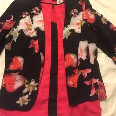 Floral blazer and color block shirt Worthington floral blazer with little gathers on the sleeves size medium. Pink and black worthington top size small. Has a cute cut out on the neckline. Worthington Jackets & Coats Blazers