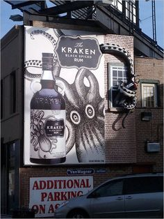 Kraken Black Spiced Rum: Death by Gian Tentacle | Pretty cool 3D billboard. The new trend in OOH advertising?