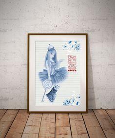 Candy girl Digital art Wall Decor Wall Art Blue decor Pen