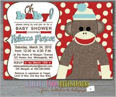 Oh Baby Sock Monkey Baby Shower Invitations Product by LullabyLoo, $18.00
