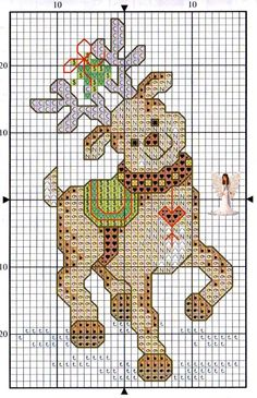 Happy Reindeer X-stitch pattern: give him a red nose and he'd be Rudolph