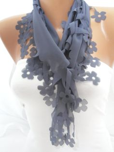 Women Gray Floral Cutout Scarf  Headband  Cowl  Spring by DIDUCI, $13.50
