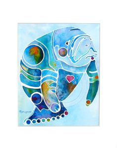 manatee watercolor