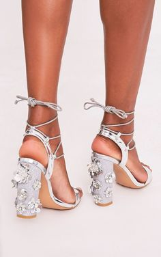 6ece3fb3608d Evy Silver Embellished Block Heeled Sandals - High Heels -  PrettylittleThing
