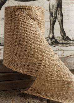 """Burlap Ribbon Natural 6"""" wide 10 yards 30'. Can get 4-90"""" chair sashes out of 1 roll. $7.99"""