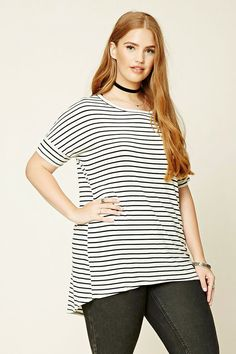 Forever 21+ - A knit top featuring a round neckline, short dolman sleeves, an allover striped pattern, and a slightly rounded high-low hem.