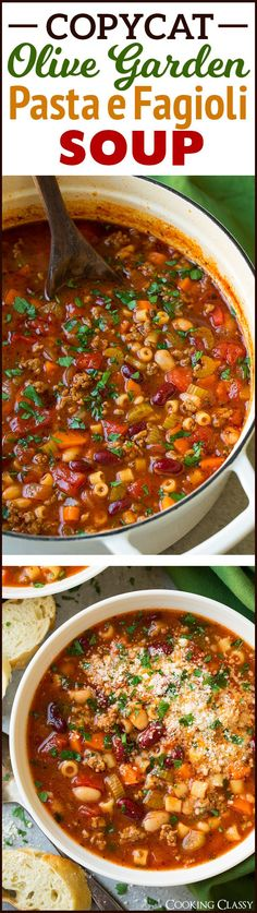 Olive Garden Pasta e Fagioli Soup Copycat Recipe - a family favorite! One of my go-to soup recipes.