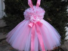 Tutu Dress BABY PINK and WHITE First Birthday by ElsaSieron, $50.00