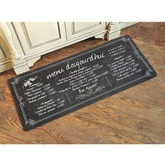 French Bistro Comfort Mat from Ballard Designs. Shop more products from Ballard Designs on Wanelo. French Bistro Kitchen, Bistro Decor, Traditional Baths, Design Blog, Design Ideas, Ballard Designs, Lettering, Floor Rugs, Home Furnishings
