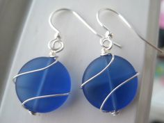 Wire Wrapped Cobalt Blue Earrings  Sea Glass by Sparkleandswirl, $12.00