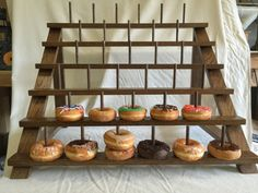 Can be adapted to fit Cake Pops or Push Pops too - Wedding Custom Donut Stand. Can be adapted to fit Cake Pops or Push Pops too Custom Donut Stand. Can be adapted to fit Cake Pops or Push Pops too! Cake Pops, Cake Pop Stands, Donut Stands, Doughnut Stand, Diy Donuts, Dunkin Donuts, Donut Bar Wedding, Party Wedding, Wedding Reception