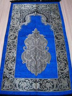BLUE Islamic Prayer Rug - CARPET - Mat Namaz Salat Musallah - Ottoman Pattern