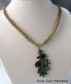 Micro-macrame Necklace by SHERRY STOKEY featuring raku pendant by Star Spirit Studio
