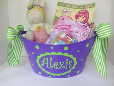 Personalized oval toy gift or storage tub bucket  by DottedDesigns, $12.00