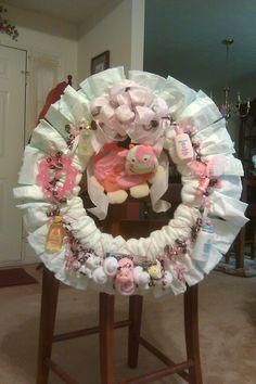 Diaper wreath--pink and brown farm theme