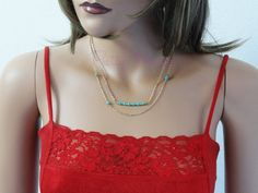 Gold Filled Layered Turquoise Necklace, Turquoise Bar Necklace, Layering Chain, Double Strand Necklace, Gold Bead Necklace, NTOP116
