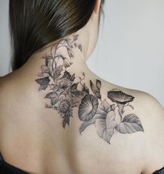 Blackwork botanical piece by Nando