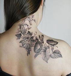 Blackwork botanical piece by Nando