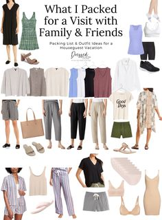 What I Packed for a Visit with Family & Friends - What to take on a trip to visit family - packing list for summer vacation Summer Vacation Packing, Vacation Style, Vacation Outfits, Summer Outfits, Summer Fashions, Travel Style, White Linen Shirt, Black Linen, Travel Wardrobe