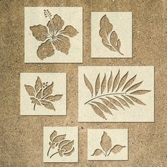 Tropical Flower Stencils Template – Pack of 6 – Ideal for Painting Wood Signs DIY Decor – cardboard crafts diy Stencil Fabric, Stencil Patterns, Stencil Art, Stencil Designs, Fabric Painting, Painting On Wood, Flower Stencils, Stencil Templates, Bird Stencil