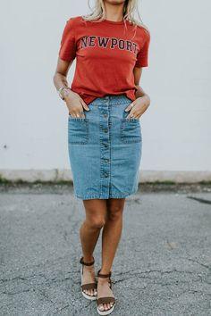 Renee Denim Skirt - S t y l i n ~ - Modest Clothing, Modest Outfits, Modest Fashion, Skirt Fashion, Casual Dresses, Summer Outfits, Casual Outfits, Cute Outfits, Apostolic Fashion
